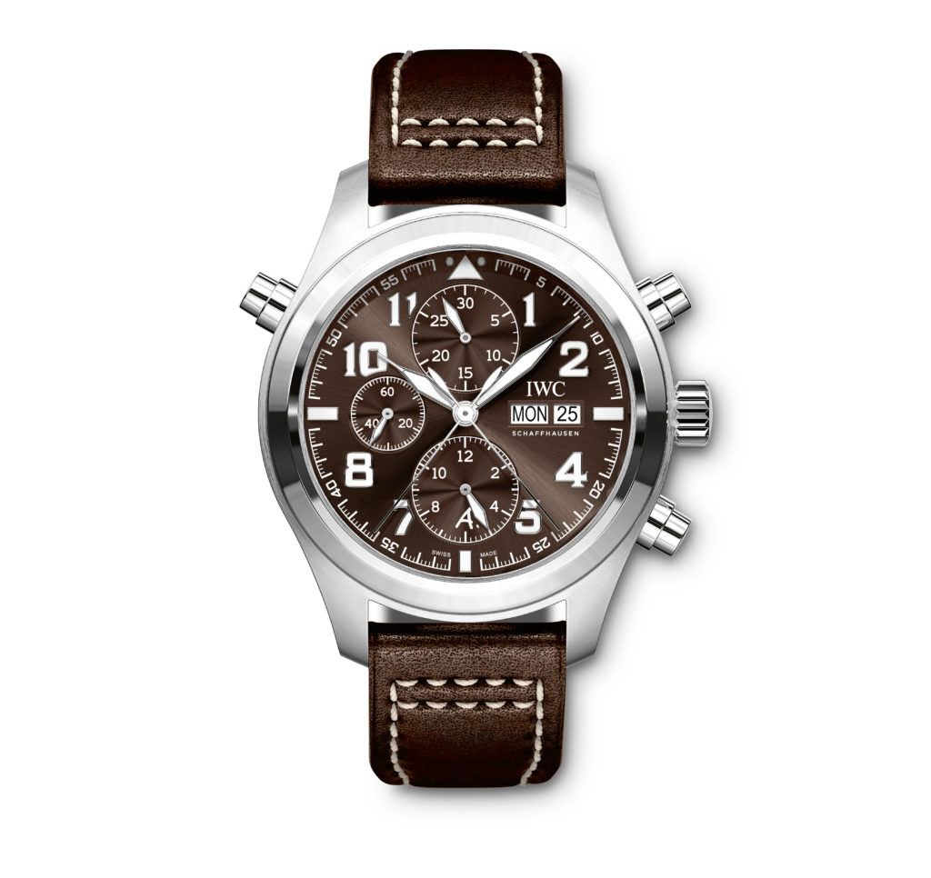 """HANDOUT – The Pilot's Watch Double Chronograph Edition """"Antoine de Saint Exupéry"""" (Ref. IW371808) from IWC Schaffhausen features a case in stainless-steel, brown dial and brown calfskin strap by Santoni with a stainless-steel folding clasp. The subdial at """"6 o'clock"""" features an A. for Antoine. The back of the watch is engraved with a Lockheed P-38 Lightning. (PHOTOPRESS/IWC)"""