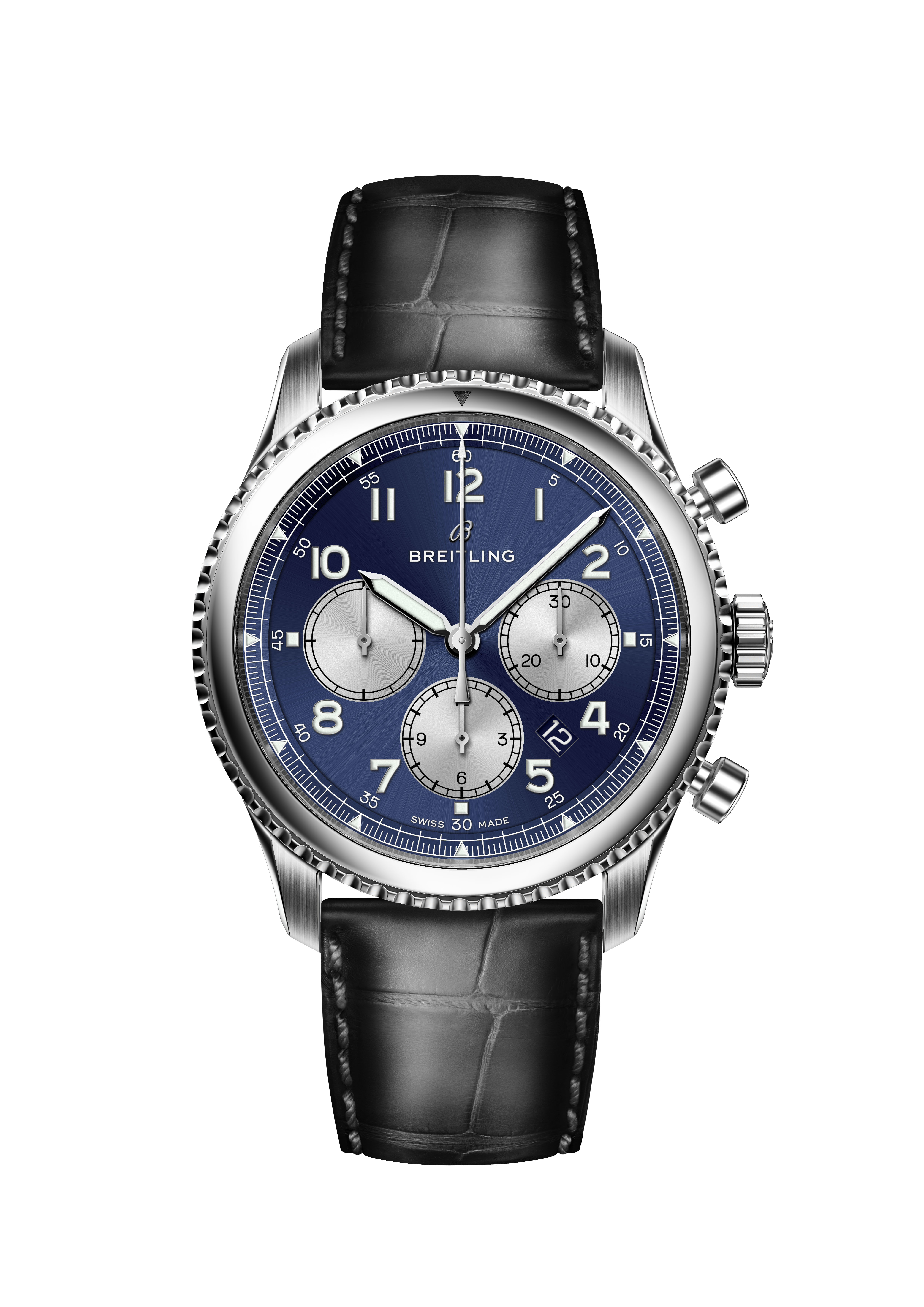 Navitimer 8 B01 with blue dial and black alligator leather strap. (PPR/Breitling)